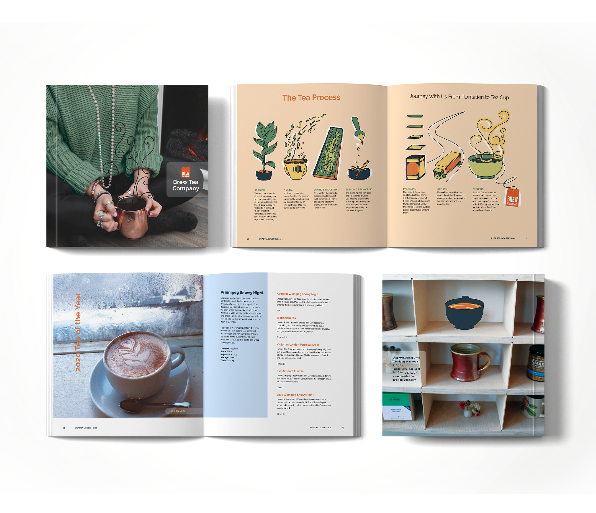 mockup of the brew tea catalogue cover and a few spreads